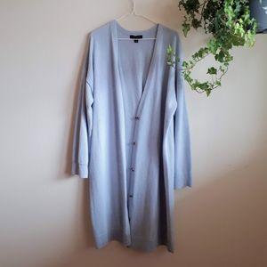 Ann Taylor XXL Long light blue buttoned cardigan